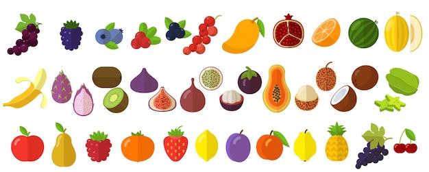 Conjunto de elementos de icono de frutas y bayas frescas crudas Vector Premium
