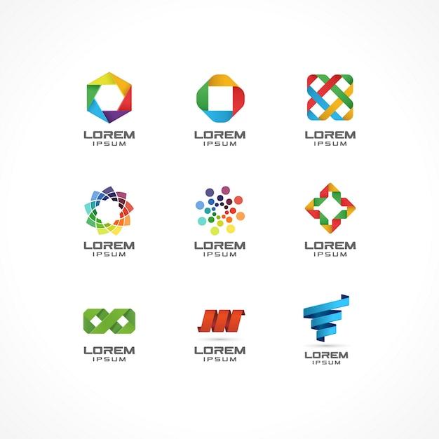 Conjunto de elementos de icono. ideas de logotipo abstracto para empresa comercial. internet, comunicación, tecnología, conceptos geométricos. pictogramas para plantilla de identidad corporativa. ilustración de stock Vector Premium