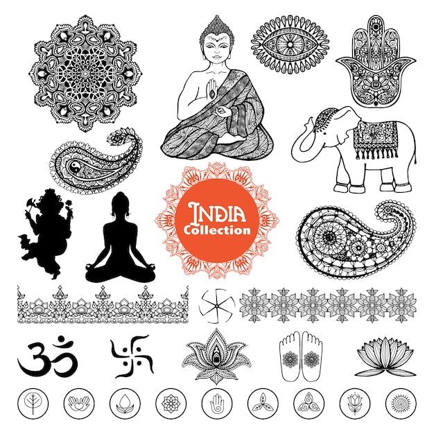 Conjunto de elementos de india dibujados a mano vector gratuito