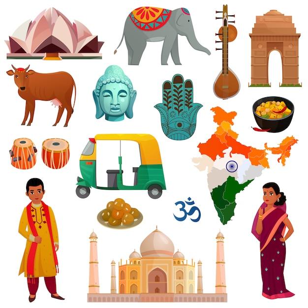 Conjunto de elementos de india vector gratuito
