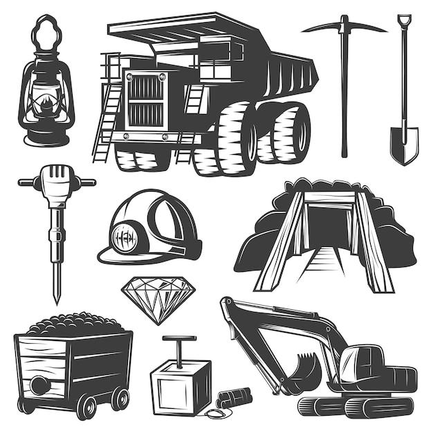 Conjunto de elementos de la industria minera vector gratuito