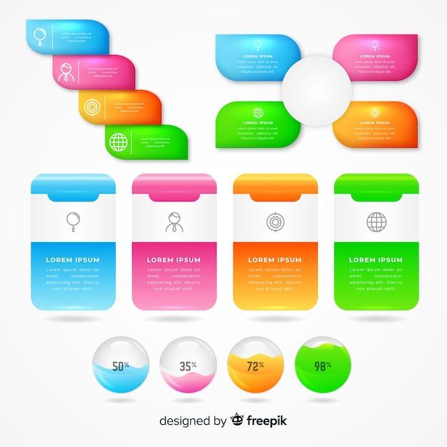 Conjunto de elementos de infografía brillante realista vector gratuito