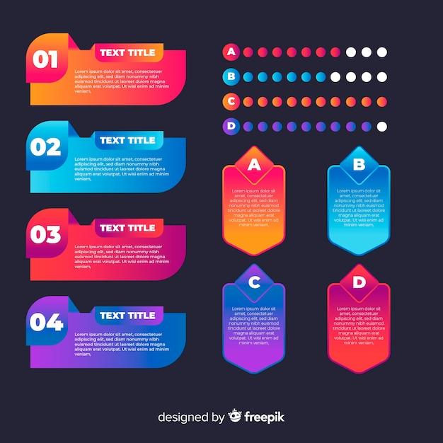 Conjunto de elementos de infografía degradado vector gratuito