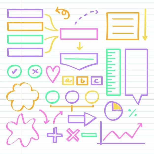 Conjunto de elementos de infografía escolar con marcadores de colores Vector Premium