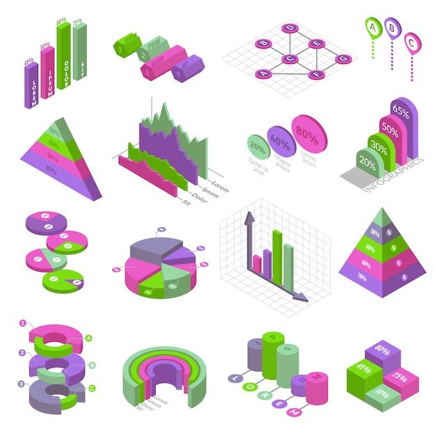Conjunto de elementos de infografía isométrica conjunto de dieciséis elementos isométricos aislados para la construcción de infografías. tablas de presentación y gráficos sobre fondo blanco. Vector Premium