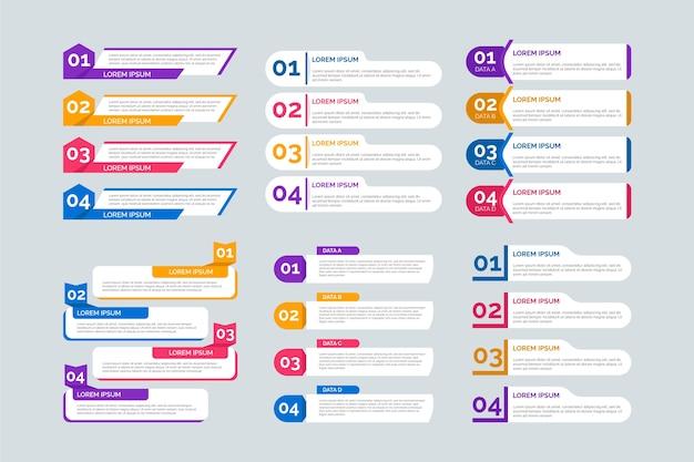 Conjunto de elementos de infografía plana vector gratuito