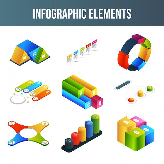 Conjunto de elementos de infografía. Vector Premium