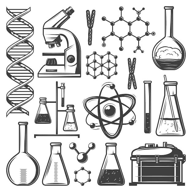 Conjunto de elementos de investigación de laboratorio vintage con matraces tubos microscopio adn estructura molecular células kit de instrumentos aislados vector gratuito