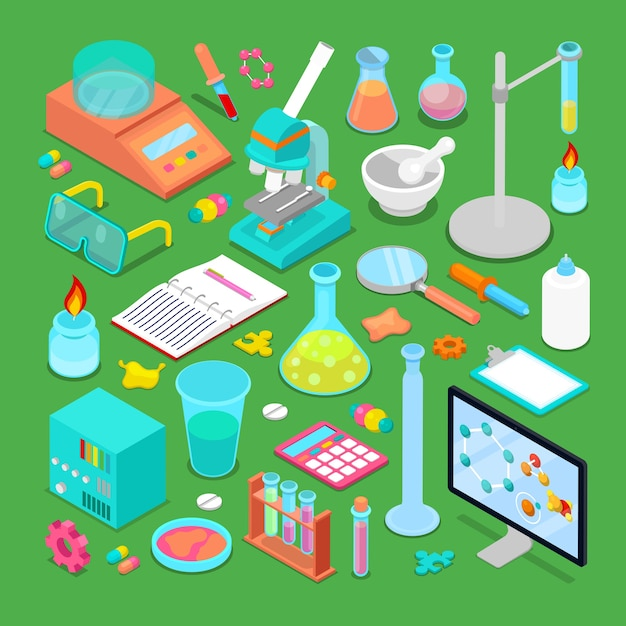 Conjunto de elementos de investigación química isométrica con átomo, escalas, química tóxica y microscopio. ilustración Vector Premium