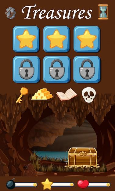 Conjunto de elementos del juego del tesoro vector gratuito