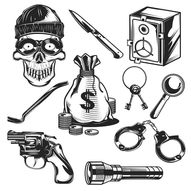 Conjunto de elementos de ladrón vector gratuito