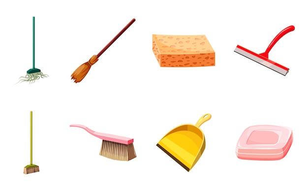 Conjunto de elementos de limpieza de herramientas. conjunto de dibujos animados de herramientas de limpieza Vector Premium