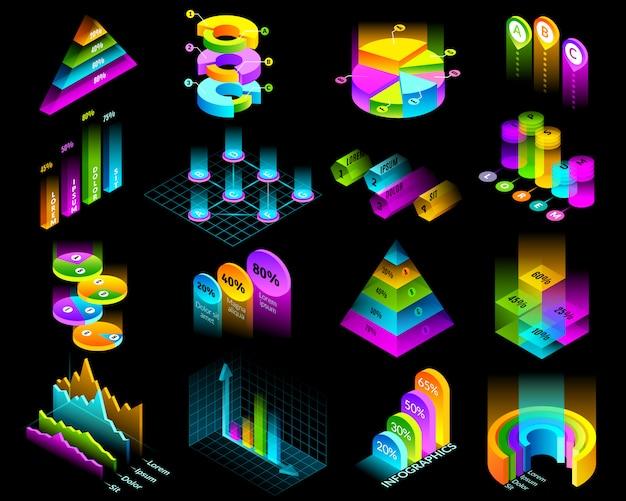 Conjunto de elementos luminiscentes de infografía isométrica. conjunto de dieciséis elementos isométricos aislados para la construcción de infografías. tablas de presentación y gráficos sobre fondo negro en colores fluorescentes. Vector Premium
