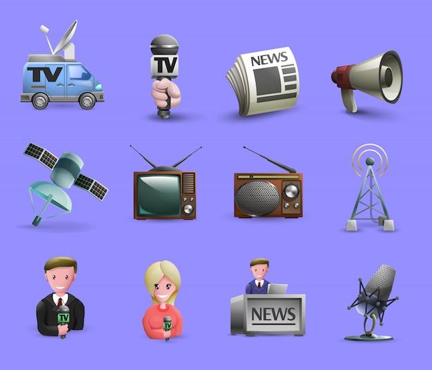 Conjunto de elementos de los medios de comunicación Vector Premium