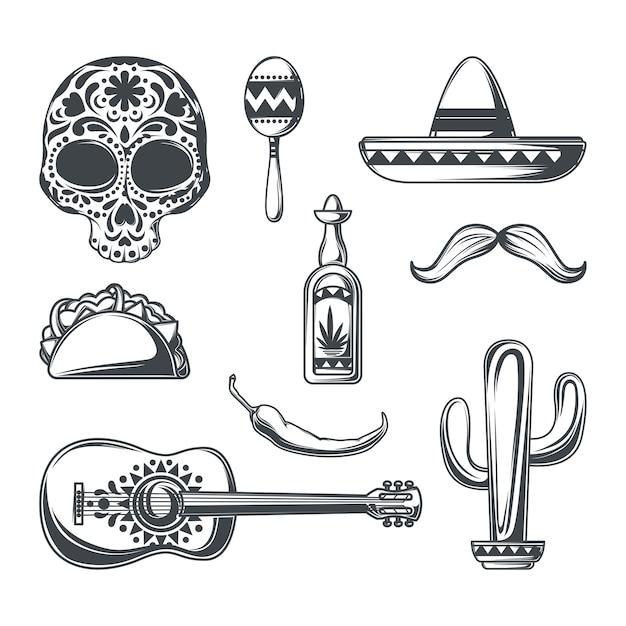 Conjunto de elementos mexicanos vector gratuito