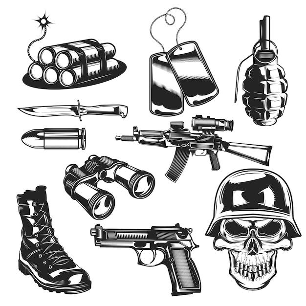 Conjunto de elementos militares vector gratuito