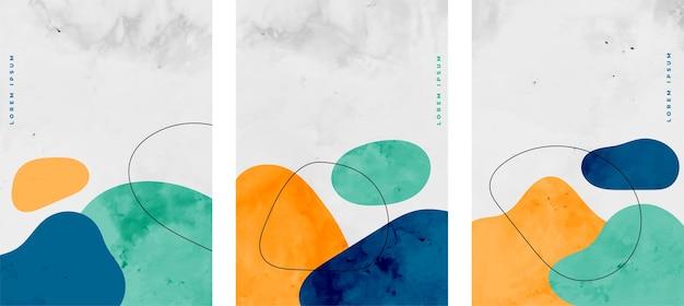Conjunto de elementos minimalistas de manchas de acuarela. vector gratuito