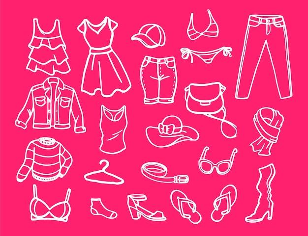 Conjunto de elementos de moda para mujeres. vector gratuito