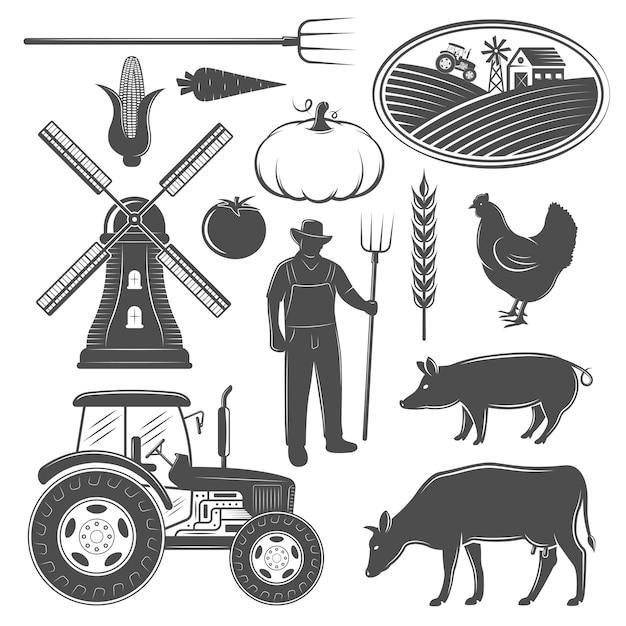 Conjunto de elementos monocromáticos de granja vector gratuito