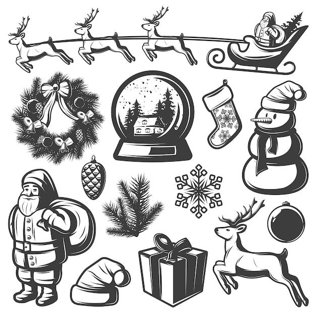 Conjunto de elementos monocromáticos de navidad vector gratuito