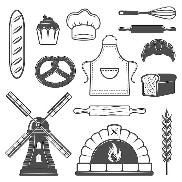 Conjunto de elementos monocromáticos de panadería vector gratuito