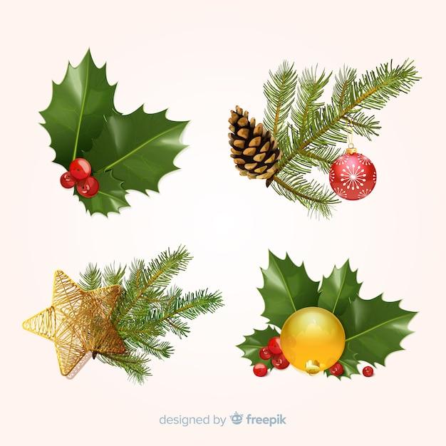 Conjunto de elementos de navidad vector gratuito