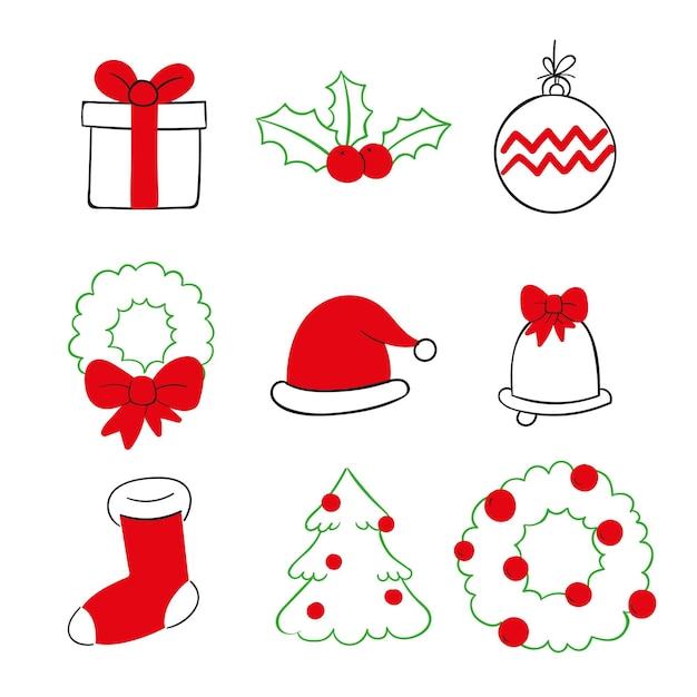 Conjunto de elementos navideños de diseño dibujado a mano vector gratuito