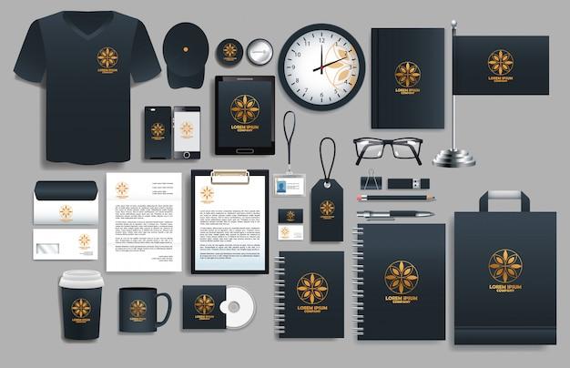 Conjunto de elementos negros con plantillas de papelería. Vector Premium