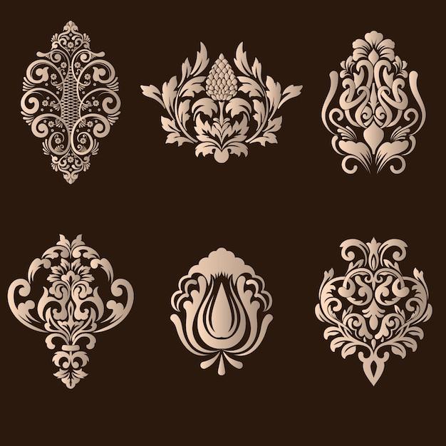 Conjunto de elementos ornamentales de damasco vector gratuito