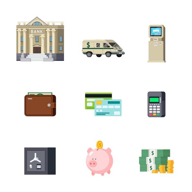 Conjunto de elementos ortogonales bancarios vector gratuito
