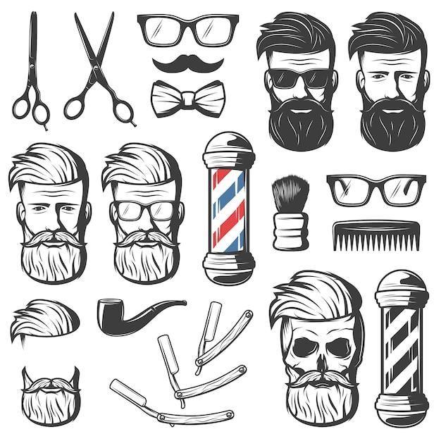 Conjunto de elementos de peluquero vintage vector gratuito