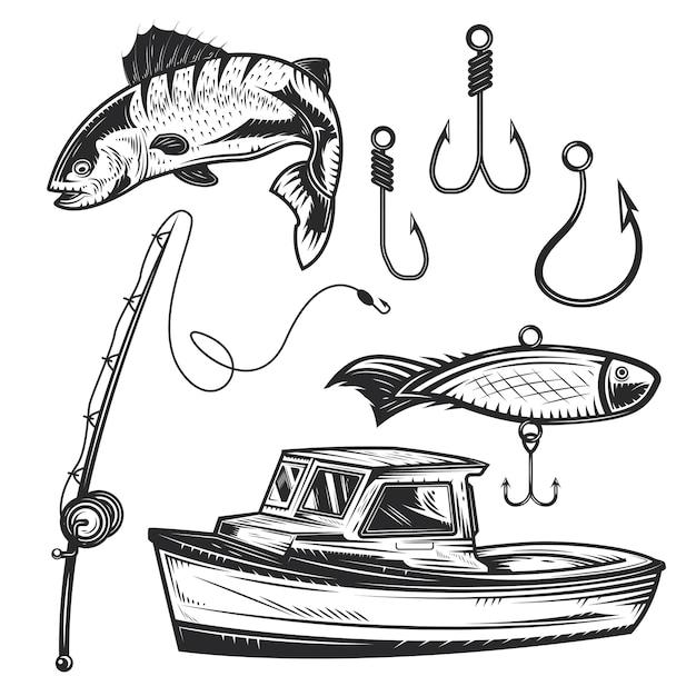 Conjunto de elementos de pesca para crear sus propias insignias, logotipos, etiquetas, carteles, etc. vector gratuito