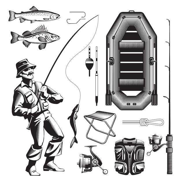 Conjunto de elementos de pesca monocromo vector gratuito