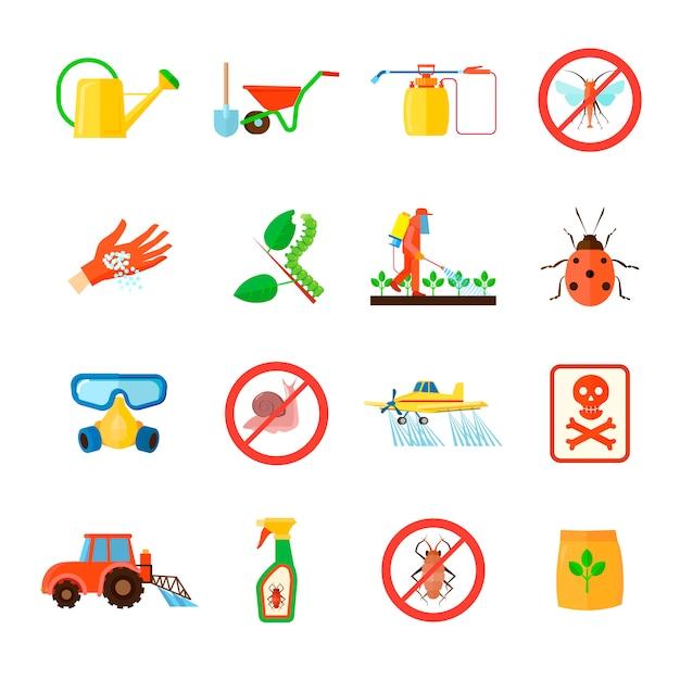 Conjunto de elementos de pesticidas y fertilizantes con ilustración de vector aislado plano de símbolos de equipo especial vector gratuito