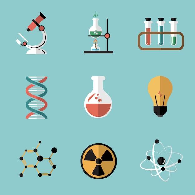 Conjunto de elementos planos de ciencia química vector gratuito