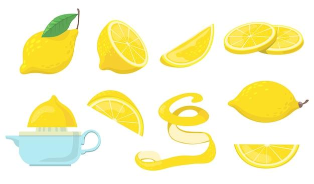 Conjunto de elementos planos de diferentes piezas de limón. vector gratuito