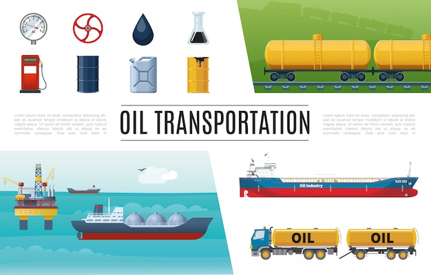 Conjunto de elementos planos de la industria petrolera con camión, estación de servicio, válvula cisterna, manómetro, bidón de barril, tanques de gasolina, plataforma de perforación marina vector gratuito