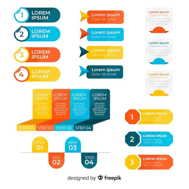 Conjunto de elementos planos de infografía vector gratuito