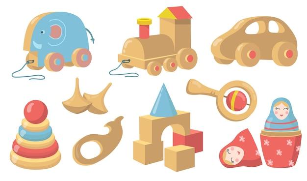 Conjunto de elementos planos de juguetes de madera vintage. vector gratuito