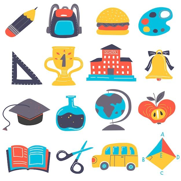 Conjunto de elementos de regreso a la escuela vector gratuito