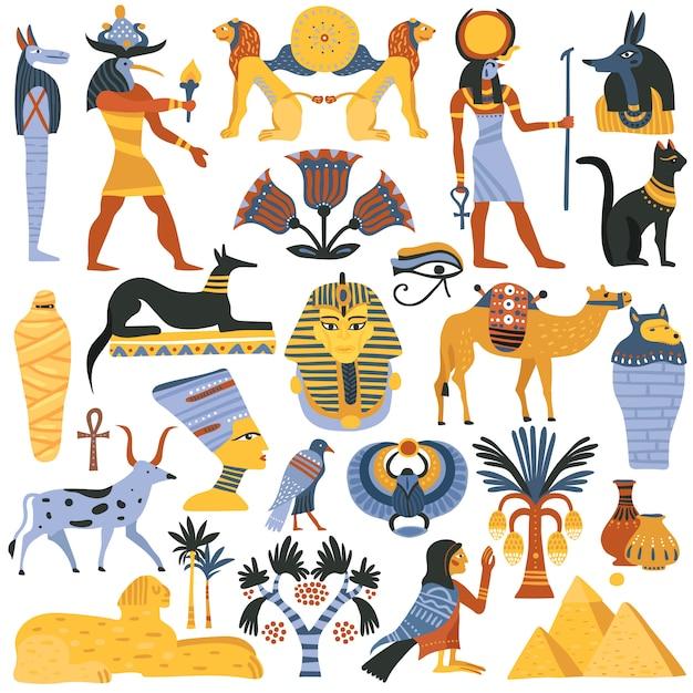 Conjunto de elementos de la religión egipcia antigua vector gratuito