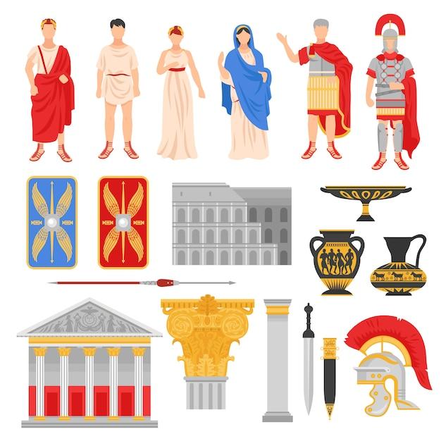 Conjunto de elementos de la roma imperial vector gratuito
