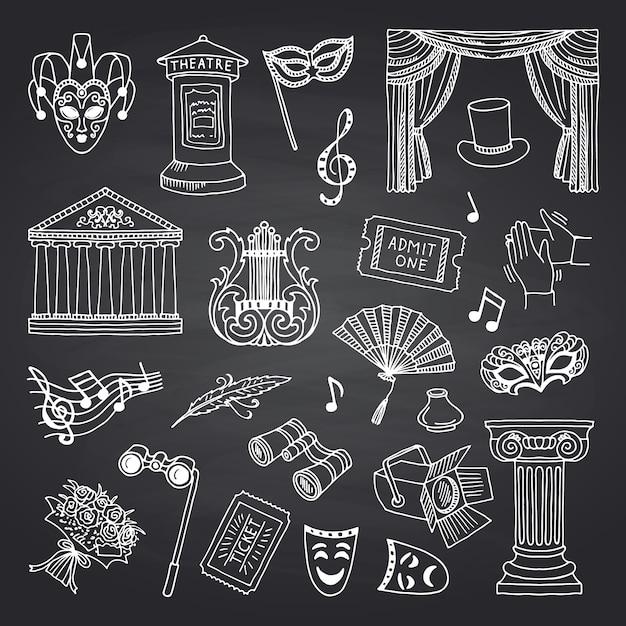 Conjunto de elementos de teatro doodle en pizarra negra Vector Premium