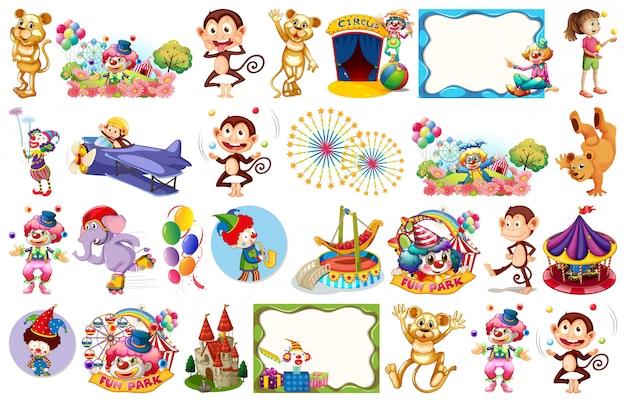 Conjunto de elementos temáticos de circo y objetos. vector gratuito