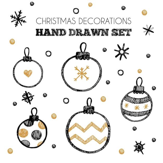 Conjunto de elementos de vector de decoraciones de navidad ...