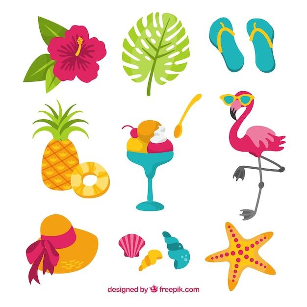 Conjunto de elementos de verano con comida y ropa en estilo plano vector gratuito