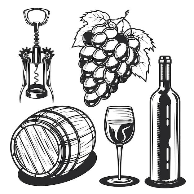 Conjunto de elementos de vino vector gratuito