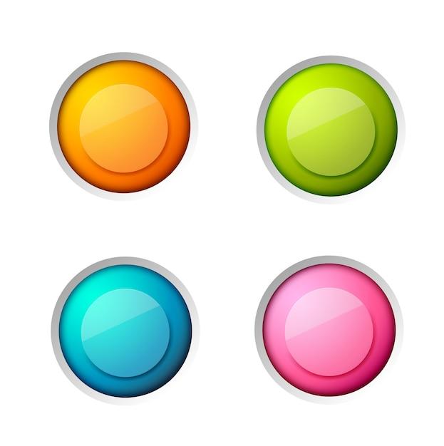 Conjunto de elementos web abstractos con coloridos botones redondos brillantes en blanco sobre blanco aislado vector gratuito