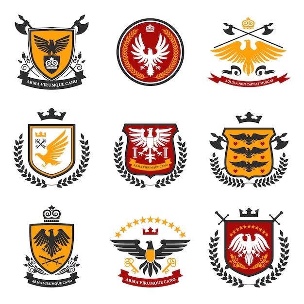 Conjunto de emblema de águila vector gratuito