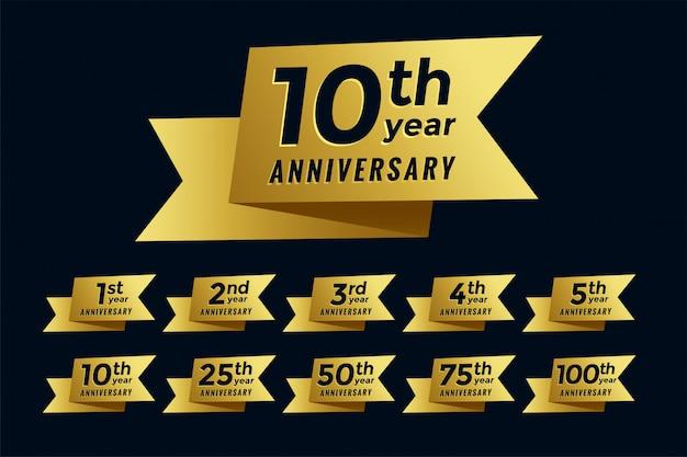 Conjunto de emblema de aniversario de cinta de oro vector gratuito